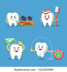 Funny playful cartoon teeth characters using toothbrush with toothpaste, dental floss and mouthwash. Teeth care clipart. Preventive hygiene measures for tooth health. Flat vector illustration isolated