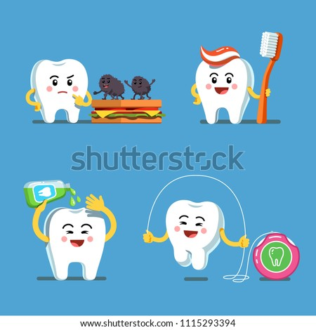 df853a4ae Funny playful cartoon teeth characters using toothbrush with toothpaste