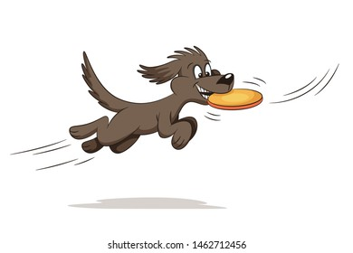 Funny playing cartoon dog. Hand drawn vector illustration.