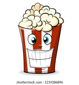 Funny popcorn character in a red striped bucket. Cartoon Vector Illustration.