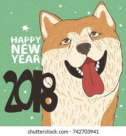 Funny portrait of smiling dog, breed Akita Inu, yellow color. Lettering 2018 Happy New Year. Zodiac sign of new year according to the Chinese calendar. Snow background. Vector illustration