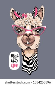 Funny poster. Cute Llama in a striped zebra mask, and in a pink glasses. Black and White camo - lettering quote. Humor card, t-shirt composition, hand drawn style print. Vector illustration.