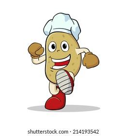 Funny Potato Cartoon Character Wearing Chef Hat
