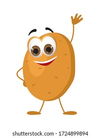 Funny Potato with eyes on white background. Cartoon funny vegetables characters flat vector illustration