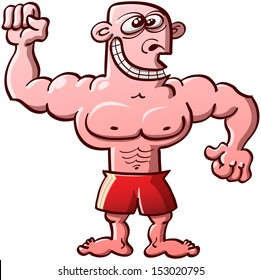 Funny, proud and odd bodybuilder wearing red shorts and smiling weirdly while clenching his fists and showing his muscles
