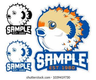 funny puffer fish mascot vector logo
