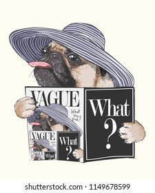 funny pug dog reading magazine illustration