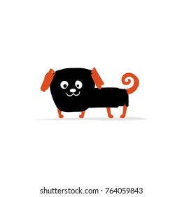 Funny pug dog, sketch for your design. Vector illustration