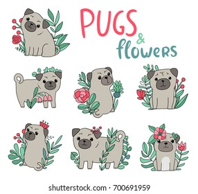 Funny pugs and flowers. Cartoon animals and plants.