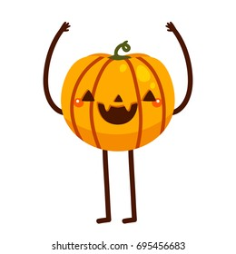 Funny pumpkin, cartoon character, vector, Halloween, isolated illustration on a white background.