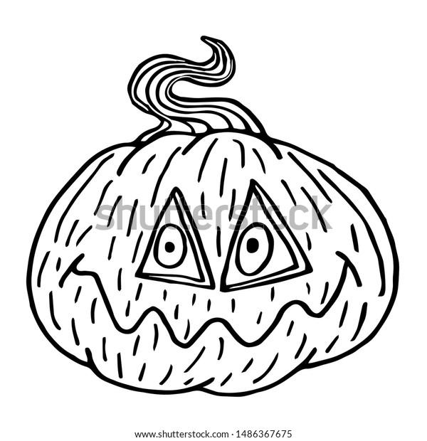 Black And White Cartoon Illustration Of Funny Jack Lantern Pumpkin..  Royalty Free Cliparts, Vectors, And Stock Illustration. Image 45852857.
