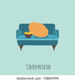 Funny pun concept of a couch potato eating chips. Vector illustration. Modern design.