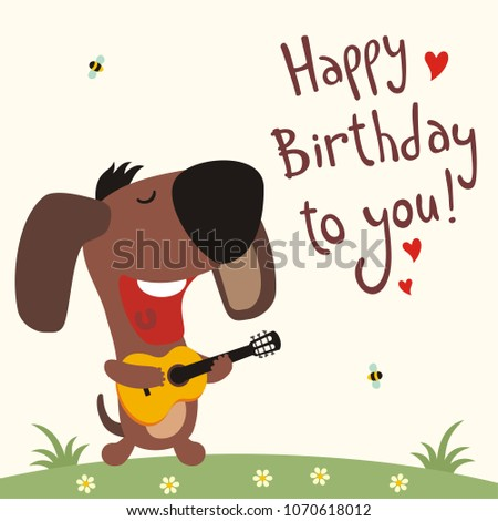 Funny Puppy Dog With Guitar Sings Song Happy Birthday To You Greeting Card