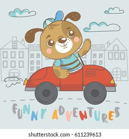 Funny puppy on car. Cute hand drawn illustration with dog on transport