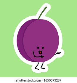 Funny purple Plum sticker with Kawaii cute face. Happy person with opened eyes. He is point to something. for learning children for food names. Funny illustration