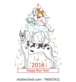 Funny pyramid from different breeds of dogs depicting a Christmas tree. The dog is a symbol of 2018. Can be used to design and design postcards