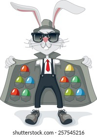 Funny Rabbit with Contraband Easter Eggs Vector Cartoon - Vector cartoon of funny gangster rabbit with multicolored Easter eggs