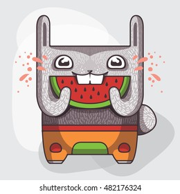 Funny rabbit with a slice of watermelon. Vector illustration. Bunny character eat a fresh fruit.