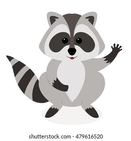 Funny raccoon waving, isolated on white background. Adorable vector raccoon. Cute cartoon pet.
