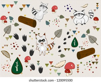 Funny raccoons playing around forest decoration vector set