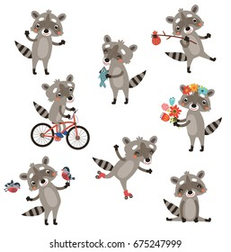 Funny raccoons. Set of vector characters