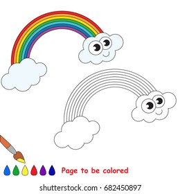 Funny Rainbow to be colored, the coloring book for preschool kids with easy educational gaming level.
