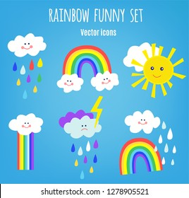 Funny rainbow and rain icons for kids. Vector graphic illustration