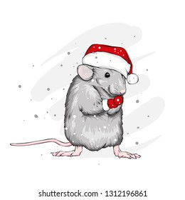 595f4788db16f Funny rat in a Christmas hat. Rodent. New Year and Christmas