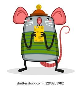 Funny rat looking at phone.