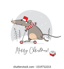 Funny Rat in a red Santa's hat, in a striped scarf, on Kick scooter. Merry Christmas – lettering quote. New Year card, hand drawn style print. Vector illustration.