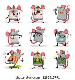 funny rat set / vector