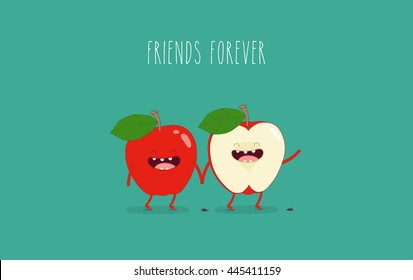 Funny red apple. Use for card, poster, banner, web design and print on t-shirt. Easy to edit. Vector illustration.