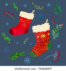 Funny red Christmas socks. Cartoon clip art illustration. Card design. Watercolour imitation.