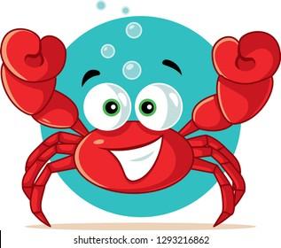 Funny Red Crab Vector Cartoon. Cute shellfish mascot character smiling being happy