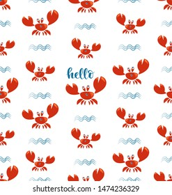 Funny red crabs and waves. Seamless pattern. Cute kids pattern for girls and boys. Bright crabs on a white background create a cheerful cartoon drawing, marine wallpaper.