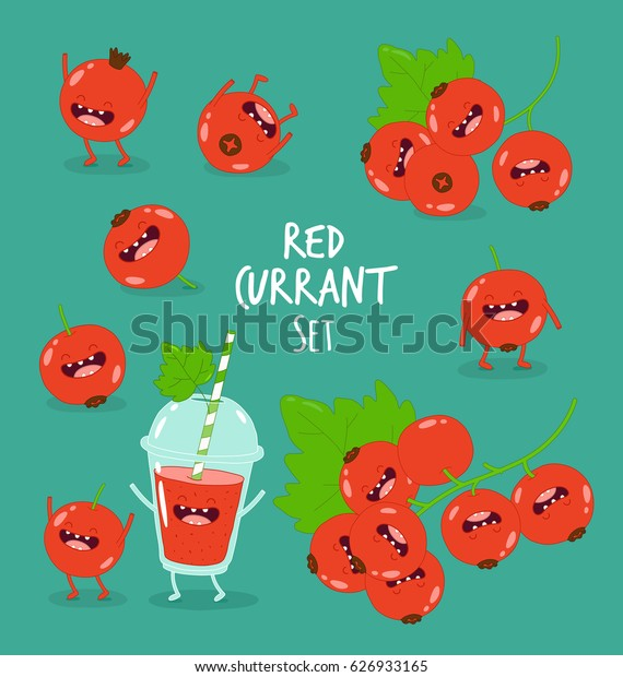 Funny red currant set. It is funny and happy berries. You can use for cards, fridge magnets and stickers.