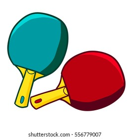 Funny red and green table tennis racket - vector.