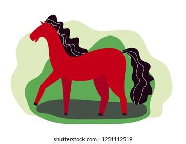 funny red horse, equestrian sport. vector cartoon illustration. green background