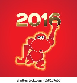 Funny red monkey holds 2016 on red background