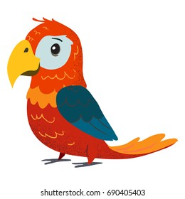 Funny red parrot. Cartoon clip art illustration on isolated background.
