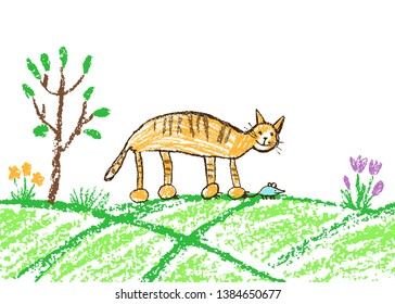 Funny red tabby cat catching mouse. Green grass meadow, tree and flower. Wax crayon like child`s hand drawn kitten. Pastel chalk or pencil kids line art stroke pet. Vector artistic doodle simple art.