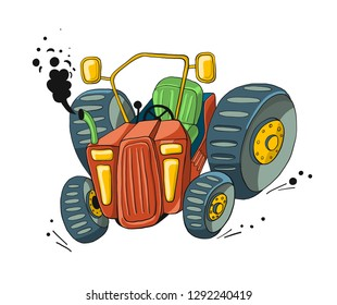 a funny red tractor with big clumsy wheels on white background  - hand drawn vector illustration