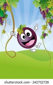 Funny red wine grape in vineyard