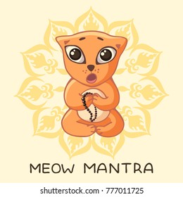 A funny red yogi kitten sits in a lotus pose and sings a mantra with an inscription and a mandala. Vector image in the style of a children's illustration.