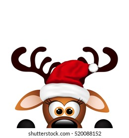 Funny Reindeer on white background. Christmas card.