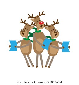 Funny reindeer singing Christmas carols, holding sheet music, with green scarves.Vector illustration.