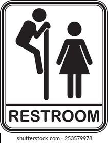 Funny restroom sign, ALL GENDER, fully editable vector EPS10