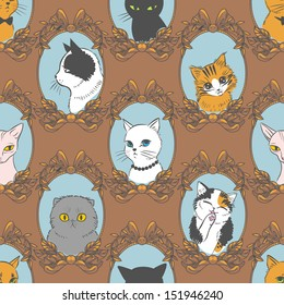 Funny retro seamless pattern with cats. Vector illustration