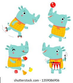 funny rhinos vector characters