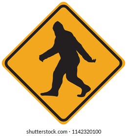 Funny road sign warning of the Yeti